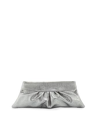 Louise Metallic Clutch Bag, Pewter