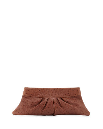 Louise Ostrich-Embossed Clutch Bag, Sienna