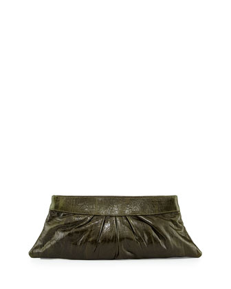 Louise Textured Lambskin Clutch Bag, Dark Green