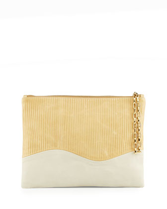 Winnie Textured/Smooth Calfskin Combo Clutch Bag, Camel/Talc