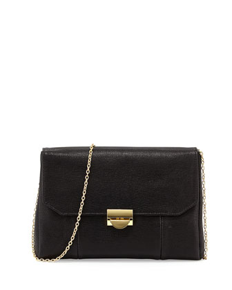 Mini Marlow Lizard-Embossed Leather Clutch Bag, Black