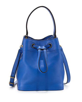 Mini Leather Bucket Bag, Neptune