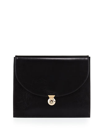 Penny Classic Calfskin Clutch Bag, Black