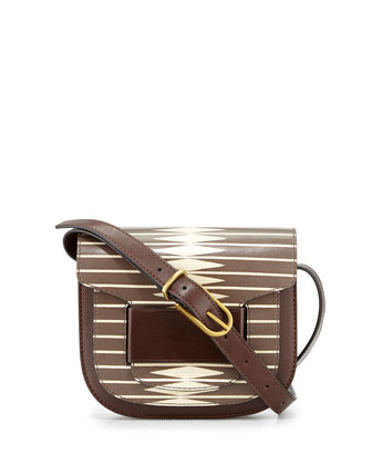 Diamond-Stripe Printed Small Crossbody Bag