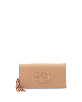 Soho Leather Clutch Bag, Camelia