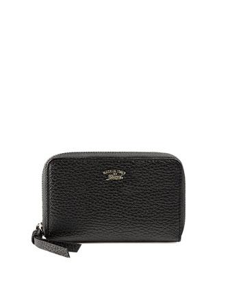Mini Zip-Around Wallet, Nero