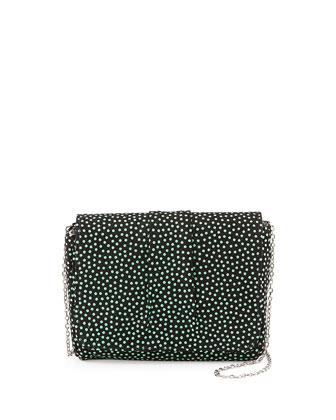Mini Caroline Polka Dot Clutch, Black/Seafoam