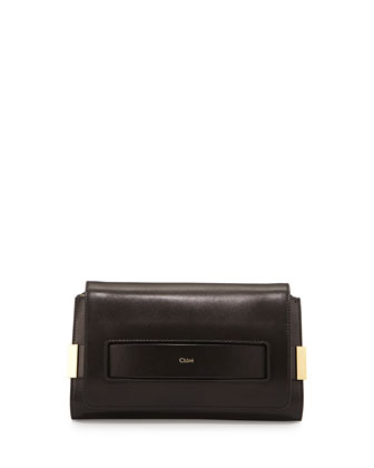 Elle Medium Clutch Bag w/ Shoulder Strap, Black