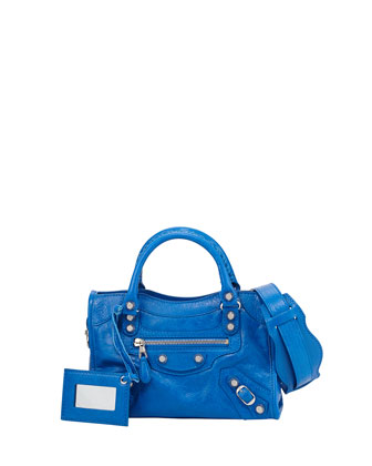 Giant 12 Mini City Leather Bag, Bright Blue