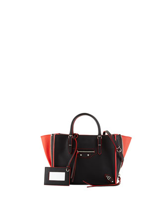 Papier Mini Leather Tote Bag, Red/Black