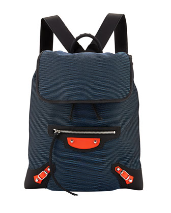 Classic Traveler Lambskin Backpack, Blue/Red/Black