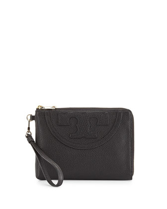 All-T Pebbled Leather Sectional Wristlet, Black