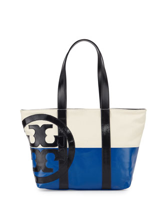 Canvas Leather-Trim Beach Tote Bag, Natural/Blue/Navy
