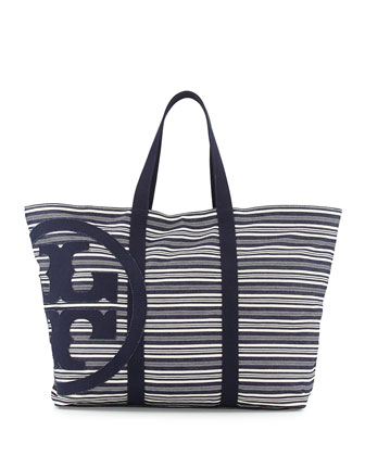 Denim Striped Beach Tote Bag