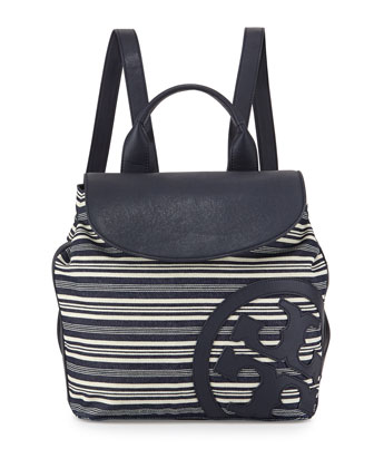 Striped Leather-Trim Denim Beach Backpack, Blue/White