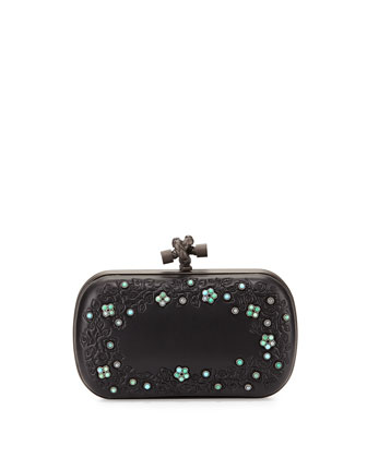 Knot-Clasp Jeweled Clutch Bag