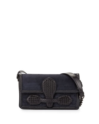 Intrecciato Suede Micro Shoulder Bag, Navy