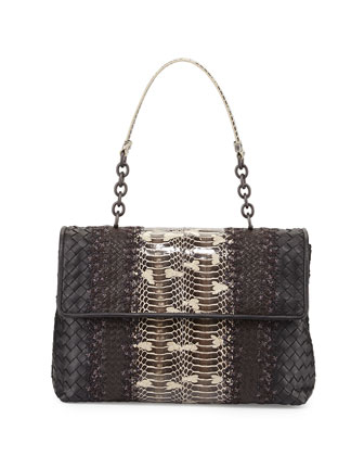 Olimpia Mangrovia Snake Shoulder Bag, Black/Brown
