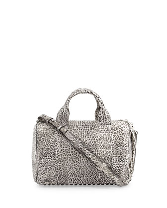 Rocco Stud-Bottom Duffel Bag, White/Black