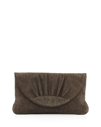 Ava Python-Print Suede Clutch Bag, Gray