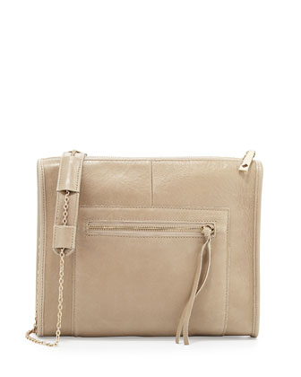 Cece Leather Zip Clutch Bag, Taupe