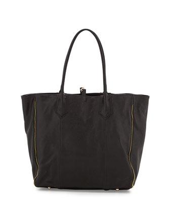 Reese Calfskin Tote Bag, Charcoal