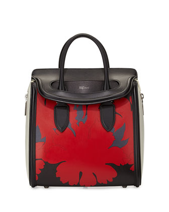 Heroine Printed Leather Satchel Bag, Black/Red/White
