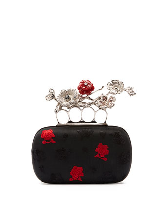 Embroidered Floral Box Clutch Bag
