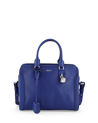 Small Skull Padlock Leather Satchel, Ultramarine Blue