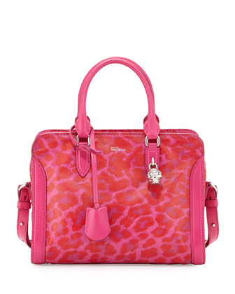 Small Skull Padlock Leather Satchel Bag, Pink Leopard