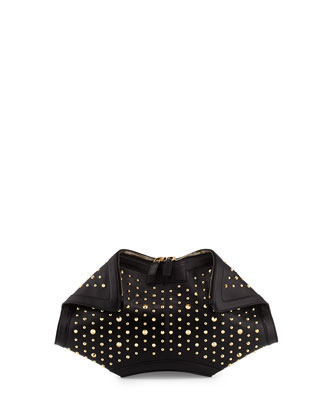 De-Manta Studded Leather Clutch Bag, Black