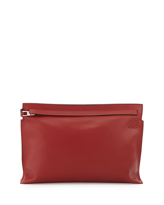 Large Leather Pouch Bag, Red