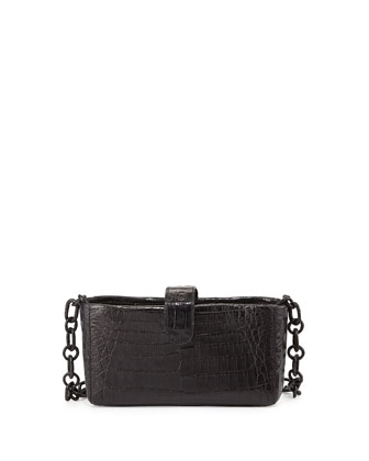 Crocodile Phone Crossbody Bag, Matte Black