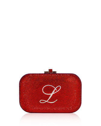 Monogram Crystal Slide-Lock Clutch Bag, Siam