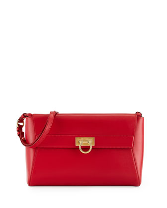Abbey Leather Shoulder Bag, Rosso