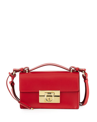 Aileen Small Leather Shoulder Bag, Rosso