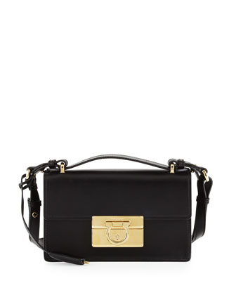 Aileen Small Leather Shoulder Bag, Nero