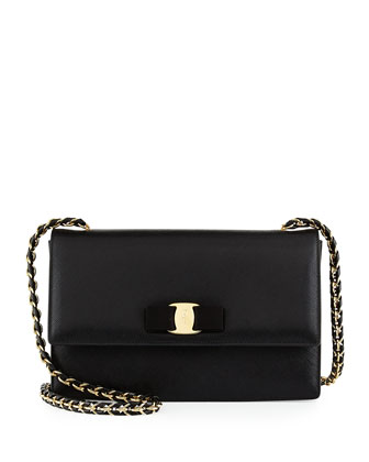 Ginny Leather Bow Shoulder Bag, Nero