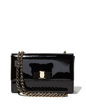 Ginny Patent Leather Shoulder Bag, Black (Nero)
