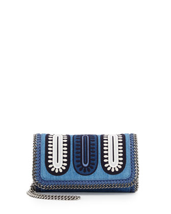 Falabella Embroidered Denim Crossbody Bag