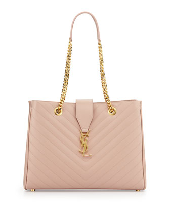 Monogramme Matelasse Shopper Bag, Pale Blush