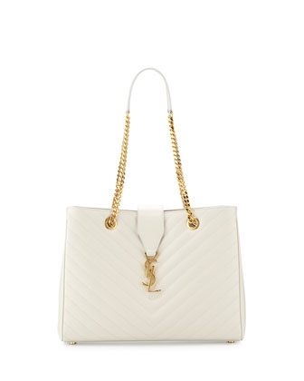 Monogramme Matelasse Shopper Bag, White