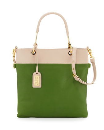 Glenda Napa Bicolor Tote Bag, Latte/Avocado