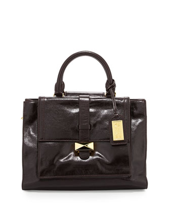 Lena Shiny Leather Tote Bag, Espresso