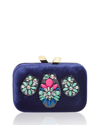 Margot Velvet Embellished Clutch Bag, Blue Multi