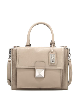 Finnie Soft Pebble Leather Satchel, Smoke