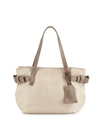 Opale Woven Leather Tote Bag, Bone