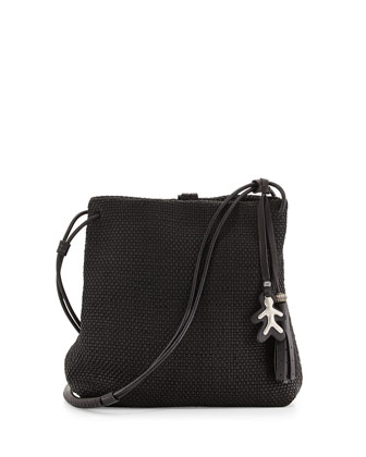 Irene Woven-Leather Crossbody Bag, Black