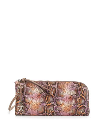 Fanny Snake-Embossed Leather Crossbody Bag, Pink