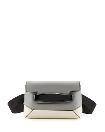 Bridge Colorblock Belt Bag, Gray/White